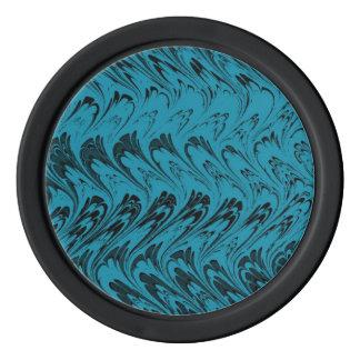 レトロのヴィンテージの渦巻のターコイズの孔雀のティール(緑がかった色)の黒 ポーカーチップ