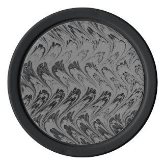 レトロのヴィンテージの渦巻のチャコールグレーの黒 ポーカーチップ