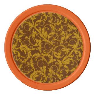 レトロのヴィンテージの渦巻のマスタードブラウン ポーカーチップ