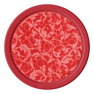 レトロのヴィンテージの渦巻のルビー色の赤 ポーカーチップ