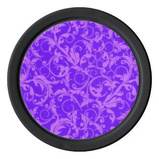 レトロのヴィンテージの渦巻の紫色の紫色 ポーカーチップ