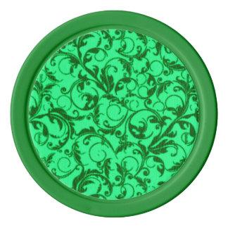 レトロのヴィンテージの渦巻の緑 ポーカーチップ