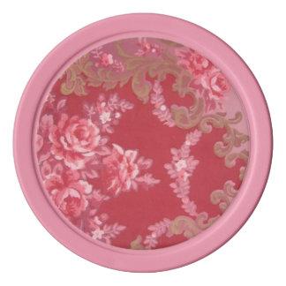 レトロのヴィンテージの渦巻の花のバラの葉のピンク ポーカーチップ