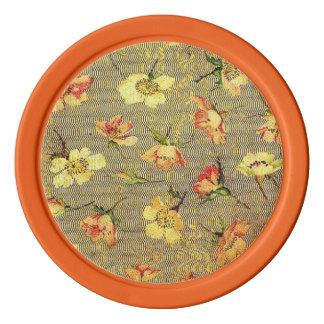 レトロのヴィンテージの渦巻の花の珊瑚のモモの黄色 ポーカーチップ