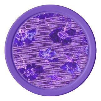 レトロのヴィンテージの渦巻の花の紫色の紫色 ポーカーチップ