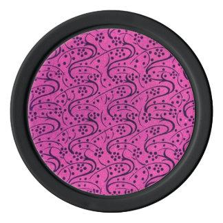 レトロのヴィンテージの渦巻の花柄のピンク ポーカーチップ