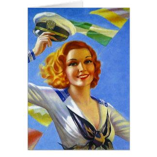 レトロのヴィンテージの船員の女性Set Sail! カード