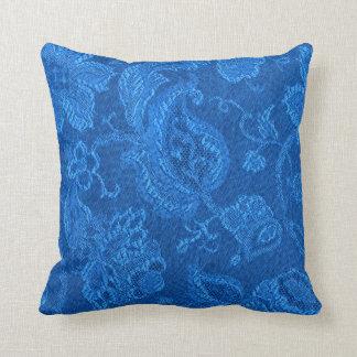 レトロのヴィンテージの花のサファイアの青の装飾用クッション クッション