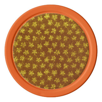 レトロのヴィンテージの花の黄色ブラウン ポーカーチップ