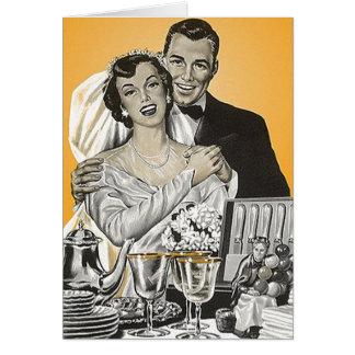 レトロのヴィンテージの花嫁及び新郎のギフトのサンキューカード カード