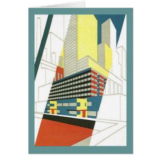 レトロのヴィンテージの都市景観の超高層ビルのブランクのメッセージカード ノートカード