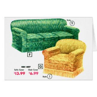 レトロのヴィンテージの40sソファーの椅子のダベンポート低俗なセット グリーティングカード