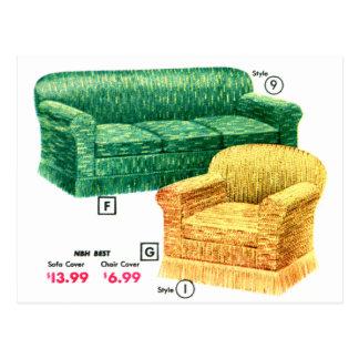 レトロのヴィンテージの40sソファーの椅子のダベンポート低俗なセット ポストカード