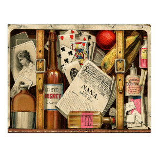 レトロのヴィンテージ旅行スーツケースの郵便はがき ポストカード
