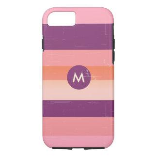 レトロの一見のモノグラムキャンデーは縞で飾ります iPhone 7ケース
