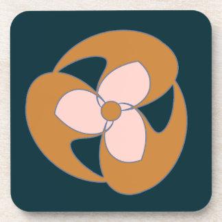 レトロの三日月形の花(金) コースター