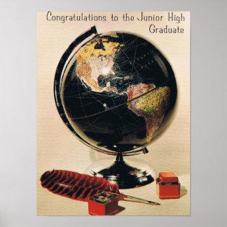 レトロの中学校の卒業生 ポスター