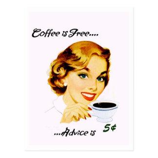 レトロの主婦のコーヒーおよびアドバイス ポストカード