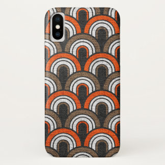 レトロの五十年代の色彩の鮮やかなキャンバス iPhone X ケース