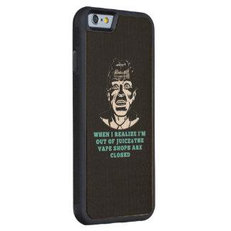 レトロの人Vapeは閉鎖した黒い緑買物をします CarvedメープルiPhone 6バンパーケース