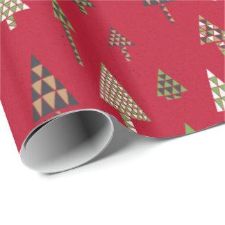 レトロの休日のクリスマスツリーのギフト用包装紙の赤 ラッピングペーパー