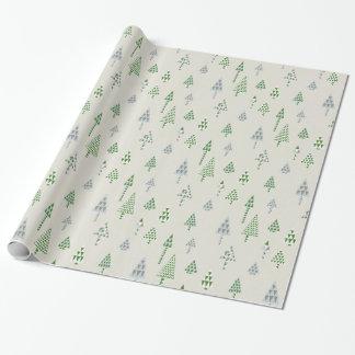 レトロの休日のクリスマスツリーのギフト用包装紙の銀 ラッピングペーパー