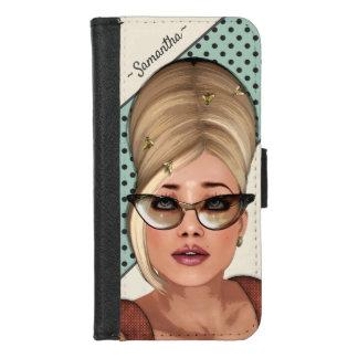 レトロの六十年代のファッションのおもしろいなミツバチの巣のヘアスタイル iPhone 8/7 ウォレットケース