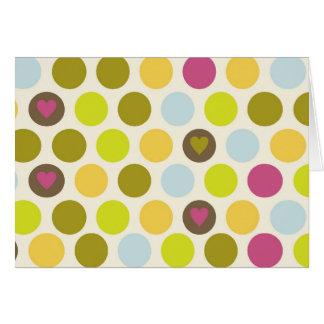 レトロの円およびハートパターン緑金ゴールドの青 カード
