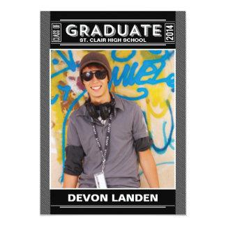 レトロの卒業の発表|の黒 12.7 X 17.8 インビテーションカード