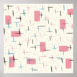 レトロの原子ピンクパターンポスター ポスター