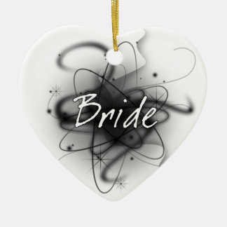 レトロの原子花嫁-黒及び白 セラミックオーナメント