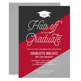 レトロの原稿の赤い及び灰色の斜めの卒業パーティー 12.7 X 17.8 インビテーションカード