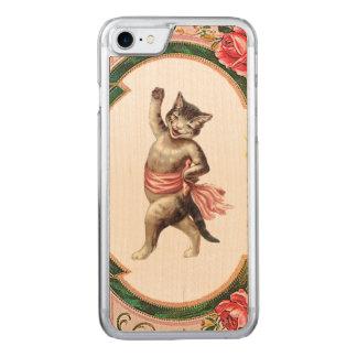レトロの反逆の子猫のキャバレーのiPhone 5/5Sは木を細くします Carved iPhone 8/7 ケース