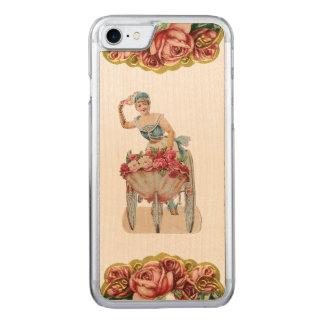 レトロの反逆者のばら色の販売人のiPhone 5/5Sは木を細くします Carved iPhone 8/7 ケース