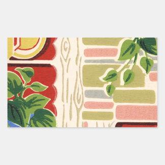 レトロの台所壁紙 長方形シール