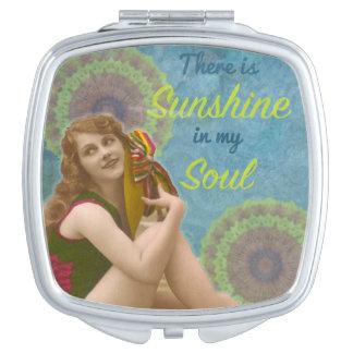 """レトロの女の子""""私の精神の日光""""の鏡のコンパクト"""