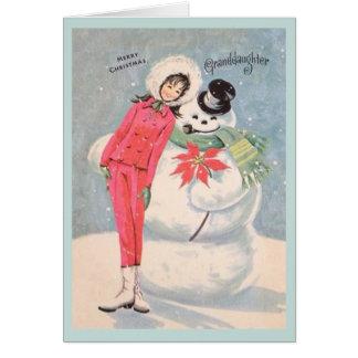 レトロの孫娘のクリスマスカード グリーティングカード