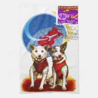 レトロの宇宙時代(犬の宇宙飛行士)の台所タオル キッチンタオル