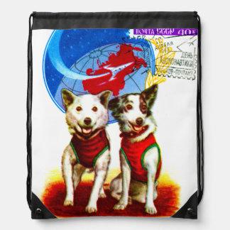 レトロの宇宙時代(CCCPの宇宙飛行士犬のデザイン) ナップサック