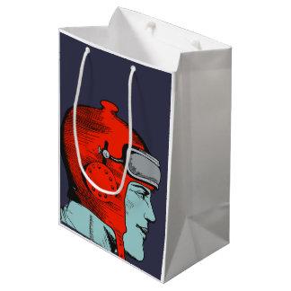 レトロの宇宙飛行士の赤のヘルメット ミディアムペーパーバッグ