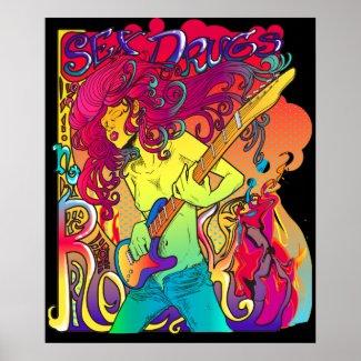 レトロの幻覚性音楽ポスター print