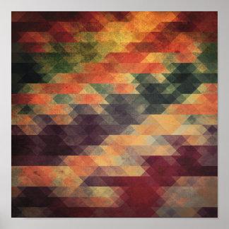 レトロの幾何学的ではっきりしたなストライプの擦り切れたな色 ポスター