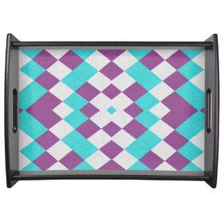 レトロの幾何学的な水の白い紫色の皿 トレー