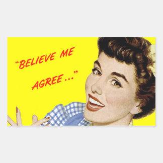 """レトロの広告の破裂音芸術のステッカーは""""信じます私を"""" 長方形シール"""