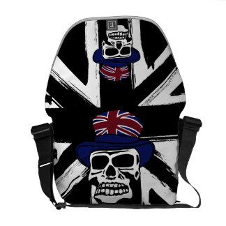 レトロの抽象的で黒い英国国旗のパンクのスカル メッセンジャーバッグ