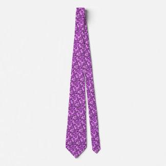 レトロの抽象的な花の紫色のアメジストによってタイルを張られるタイ ネクタイ