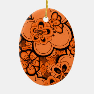 レトロの抽象的な花の蜜柑のオレンジオーナメント セラミックオーナメント