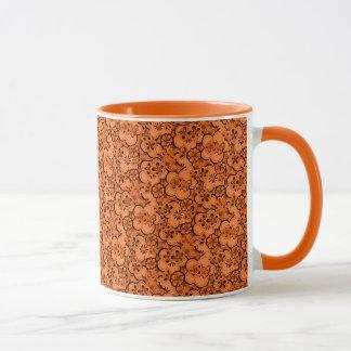 レトロの抽象的な花の蜜柑のオレンジコーヒー・マグ マグカップ