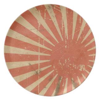 レトロの朝日の日本のな旗のプレート プレート