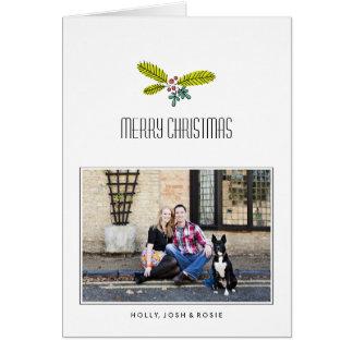 レトロの枝によって折られるクリスマスカードのカスタムメッセージ グリーティングカード